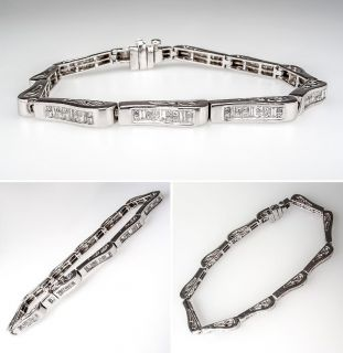 Carat Diamond Tennis Bracelet Invisible Set 14K White Gold sku