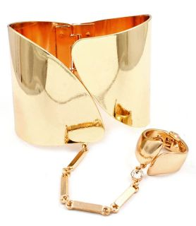 Gold Tone Hinge Bracelet w Attached Ring Ladies Modern Slave
