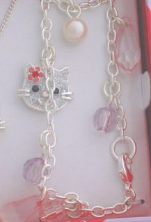 /Childrens Cat/Kitty Watch Set Necklace Bracelet Gift Set Hello Pink