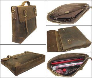 Mens Real Leather Attache Briefcases Shoulder Laptop Bag Business Case
