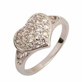 Brilliant 9K White Gold Filled CZ Heart Shape Engagement Ring R107