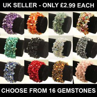 Wide Gemstone Crystal Chip Beaded Stretch Bracelets