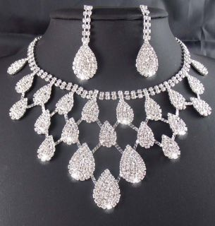 edding/Bridal Rhinestone crystal necklace earring set TL0340