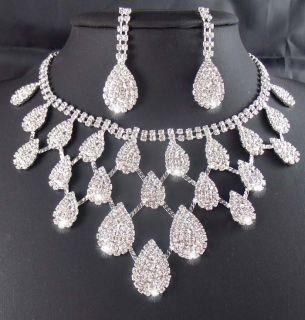 edding/Bridal Rhinestone crystal necklace earring set TL0340