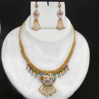 Fashion Jewelry Gold Plated Zirconia Bridal Necklace Set BJ1505m