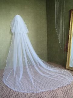 AU Ivory Bridal Veil 2T Cathedral Rattail Crystals V4SD