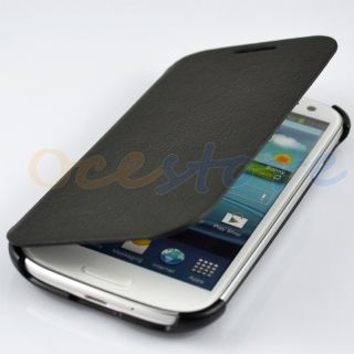 Black PU Synthetic Leather Flip Case Cover for Samsung Galaxy s 3 III
