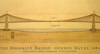Brooklyn Bridge Plans Antiqued Architectural Historical Print Framed A