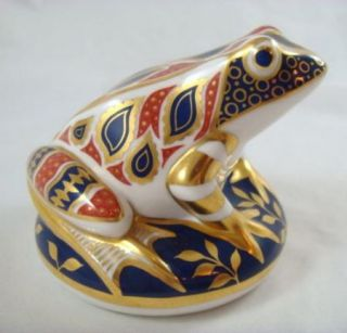 Royal Crown Derby Imari Paperweight Collection Frog Gold Stopper