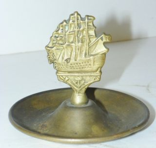 VINTAGE SOLID BRASS SHIPS ASHTRAY ASH TRAY COIN DISH PLATE TOBACCO