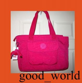 Kipling Walu Large Tote Bag Brink Pink Crinkle Nylon Monkey Key Chain