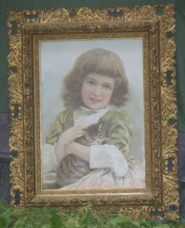 Very Nice Antique Victorian chromolithograph in a very good baroque
