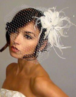 Ivory RHINESTONE BROOCH Fascinator & RHINESTONE BIRDCAGE VEIL Bridal