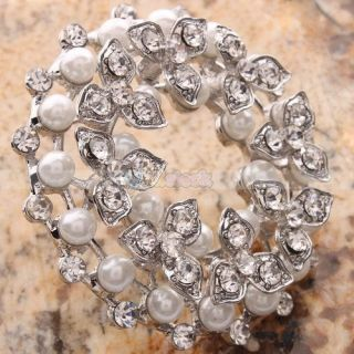 Pretty Generous Rhinestone Crystal Pearl Pin Brooch