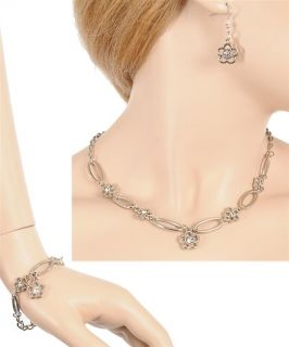 PIECE FLOWER CRYSTAL JEWELRY SET NECKLACE BRACELET EARRINGS SILVER