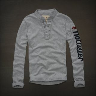 Large HOLLISTER Abercrombie NWT Broad Beach Grey Henley Polo T Shirt L