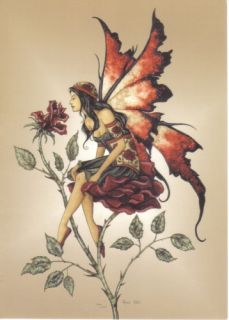 Amy Browns Rose Red Fairy Art Postcard 2004 Mint New