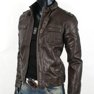 Mens Rider Motorcycle Leather Jacket JK002 Deep Brown