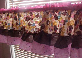 pink brown cupcake sprinkle valance window treatment kitchen curtain