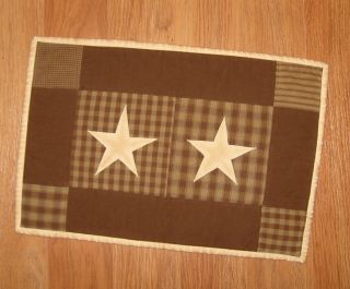 Quilted Placemat Primitive Brown Homespun Plaid Tea Dyed Star 12 x 18