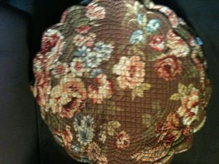 ROSE BROWN REVERSIBLE QUILTED COUNTRY VICTORIAN PLACEMAT DOILY SCARF