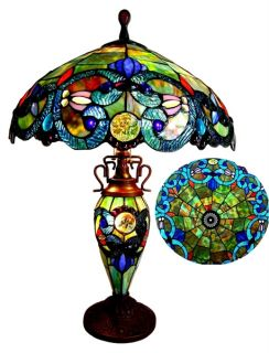 Handcrafted Tiffany Style Stained Glass Table Lamp w Lit Base and 18