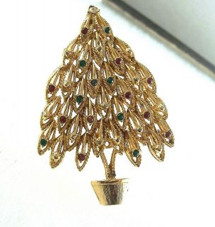 Vintage Rhinestone Christmas Tree Brooch Pin
