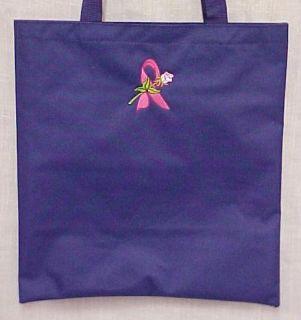 Breast Cancer Awareness Purple Tote Bag Ribbon Rose New