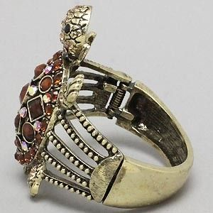 crystal brown stone antique gold hinge turtle jewelry cuff bracelet