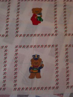 Christmas Teddy Bear Quilt Blocks Patches Fabric Craft Panel