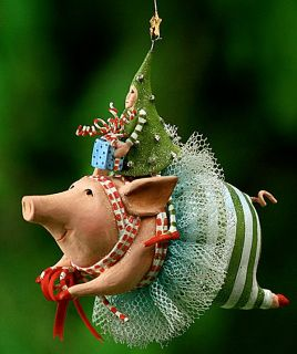 Patience Brewster Krinkles Joyful Flying Pig Ornament
