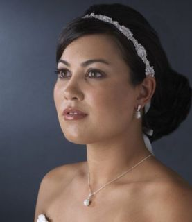 White Ribbon Bridal Headband Pearls Rhinestones