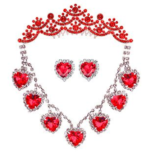 Gorgeous Bride Wedding Red Peach Heart Necklace Earring Headhand Crown
