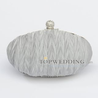 Silver Women Wedding Party Fully Crinkled Chiffon Oval Evening Clutch