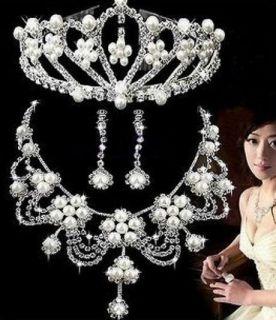 Bridal Wedding Jewelry White Faux Peal Flower Elegant Tiara Necklace