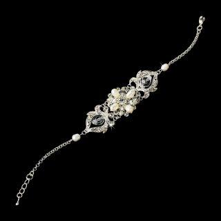 Romantic Silver Bridal Jewelry Set Tiara Swarovski Crystal Freshwater