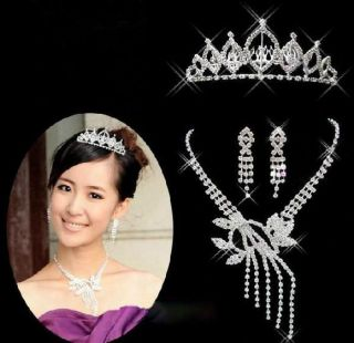 Crystal Silver EP Bridal Wedding Jewelry Tiara Crown Leaf Tassels