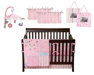 Brielle Flowers Birds Pink Baby Girl Crib Nursery Bedding Set 9 PC