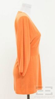 Brunello Cucinelli Orange Cashmere Deep V Neck Tunic Sweater Size