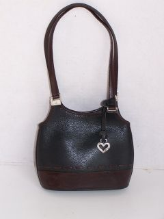 Brighton Black Brown Leather Purse Handbag Tote Heart