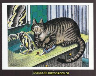 KLIBAN Bernard CATS ART POSTCARD Kitty Brushing Teeth with Mirror