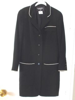 BOUTIQUE BLACK WOOL LONG JACKET BLAZER, WHITE TRIM, CC LOGO ON BTNS