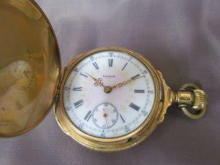 Antique Victorian Gold Elgin 15J H H Taylor Pocket Watch Hunters Case