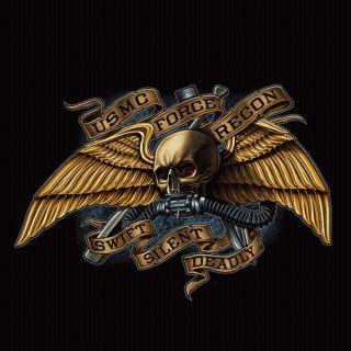 US Marine Corps T shirt Force Recon USMC FORECON Reconnaissance Black