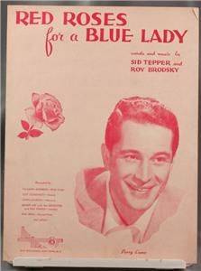 Vintage Sheet Music Red Roses for Blue Lady Perry Como