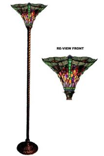Handcrafted Dragonfly Torchiere Tiffany Style Stained Glass Floor Lamp