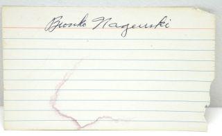 Bronko Nagurski Football Hall of Fame Autograph Index Card