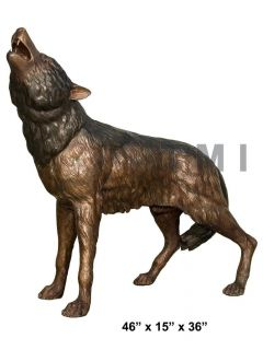 Bronze Statue Wolf Whining Mascot Animal Garden Sculpture Yard Art