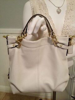 COACH Brooke White Pebbled Leather Tote Shoulder Bag F17165 VGUC