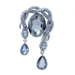 Coiled 2 Snake Serpent Drop Brooch Pin Rhinestone Crystals OFA2101